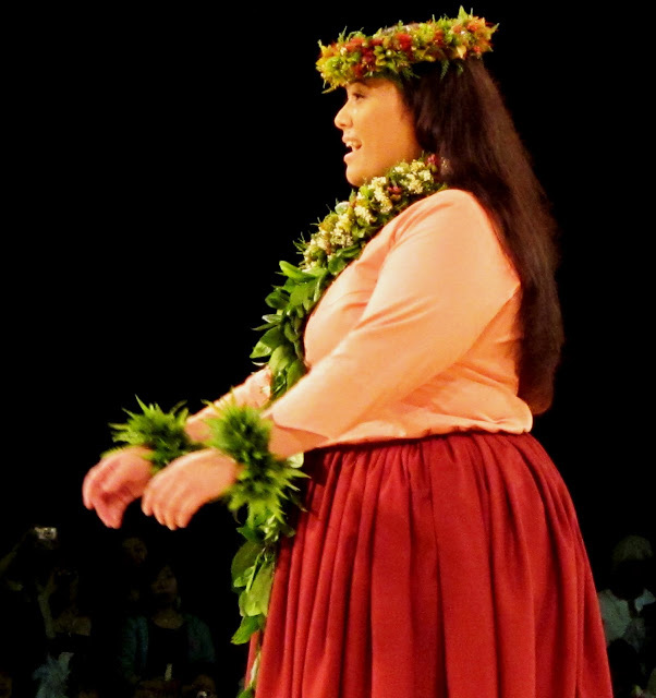 [Miss Aloha Hula Competition] Lilinoe Sterling on the Kahiko night of the Merrie Monarch Miss Aloha Hula Competition, 2012. Photo by Albert Cardamon.