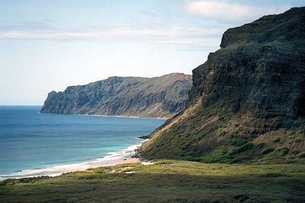 [Windward cliffs of Niʻihau] Photo by Christopher P. Becker.