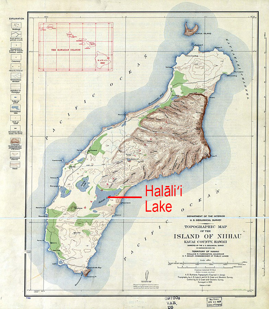 [Topographic map of Niʻihau] Indicating Halāliʻi Lake. Photo by US Geological Survey.