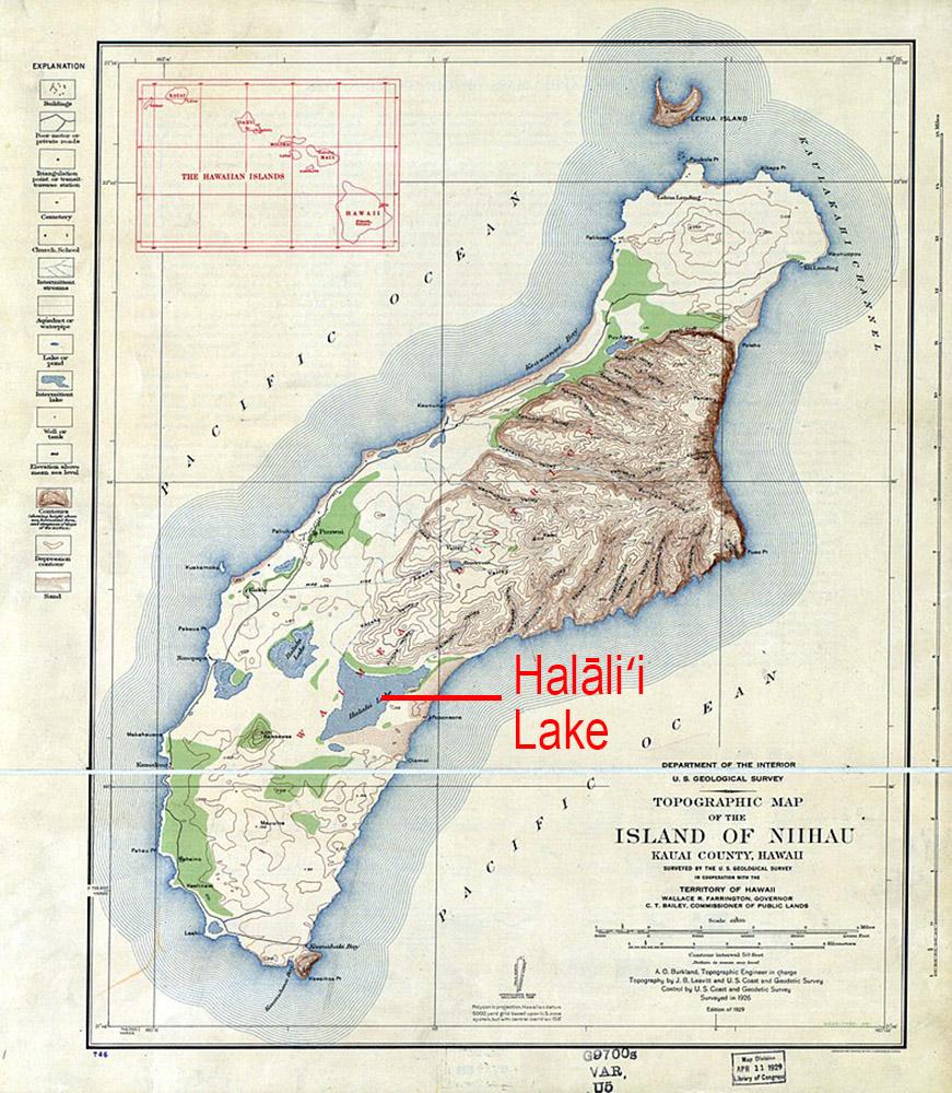 [Topographic map of Niʻihau] Indicating Halāliʻi Lake. Photo by US Geological Survey.