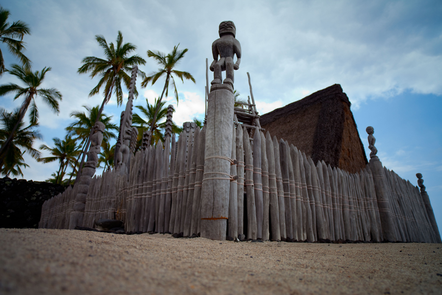 [Fence surrounding heiau] Photo by Ruben Carillo.