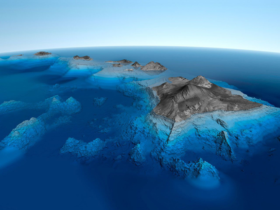 [3-D view of Hawaiʻi] Graphic by Nils Sparwasser.