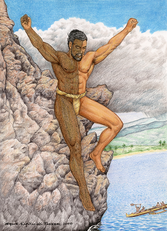 [Lele kawa] Image of Kahekilinuiahumanu cliff jumping (lele kawa). Artwork by Brook Kapūkuniahi Parker.
