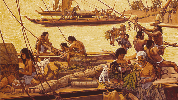 [Marquesans loading canoes] Marquesans loading possessions onto canoes for voyage to a new home. Artwork by Herb Kāne.