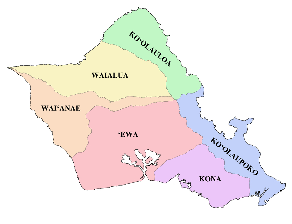 [Map of Oʻahu] Showing the six moku. Artwork by R. Y. Racoma.