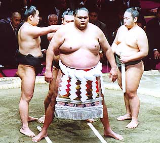 [Akebono] Grand champion sumo wrestler (yokozuna). Photo by Philbert Ono.