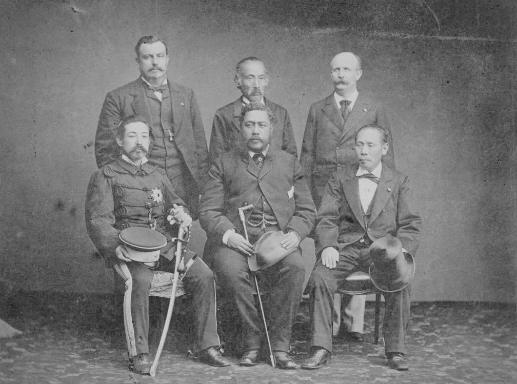 [King David Kalākaua (front, center) in Japan] Photographer unknown.