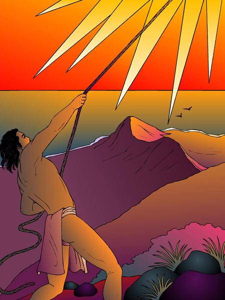 [Māui lassoing sun] Artwork by R. Y. Racoma. © Kamehameha Schools.