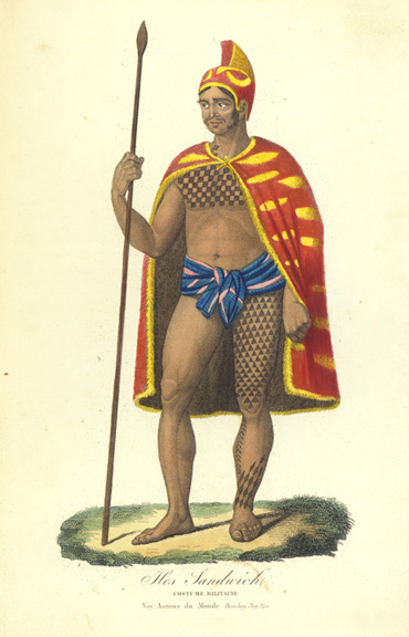 [Aliʻi warrior] Iles Sandwich/Costume Militaire. Unknown artist.
