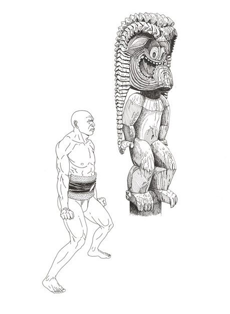 [Kū with man in ʻai haʻa stance ] Artwork by Art Kodani.