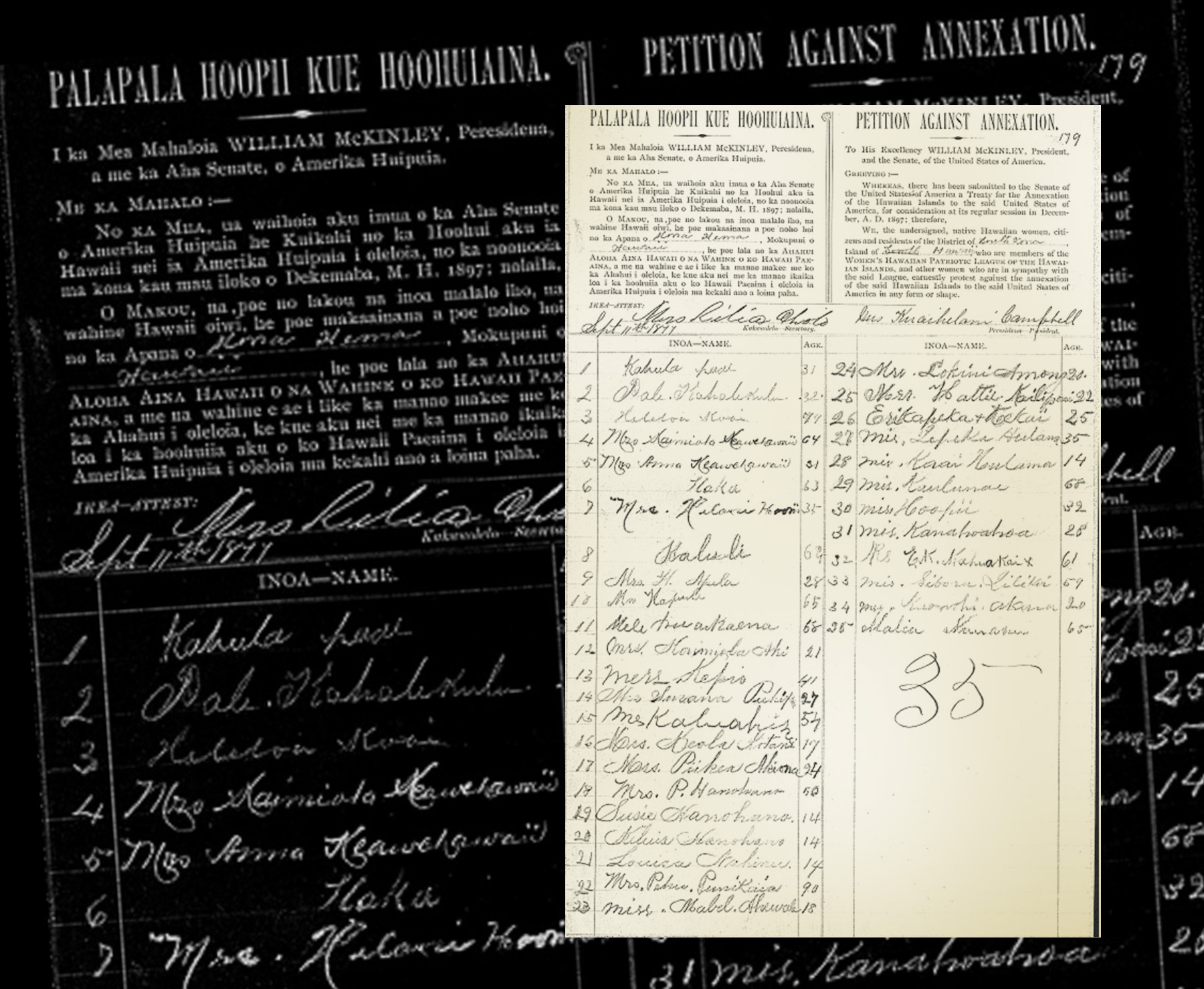 [Kūʻē petitions] 1897 Hawaiʻi petition against annexation.