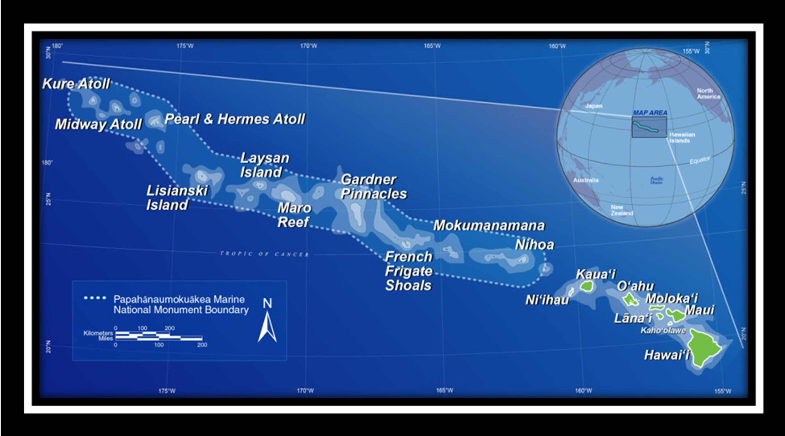 [Map of Papahānaumokuākea] Image courtesy of NOAA.