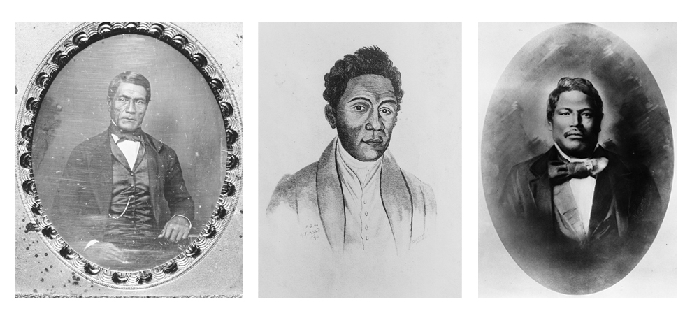 [Ioane Papa ʻĪʻī, Davida Malo, and Samuel Mānaiakalani Kamakau] Portrait of Malo by A. T. Agate; other artists unknown.